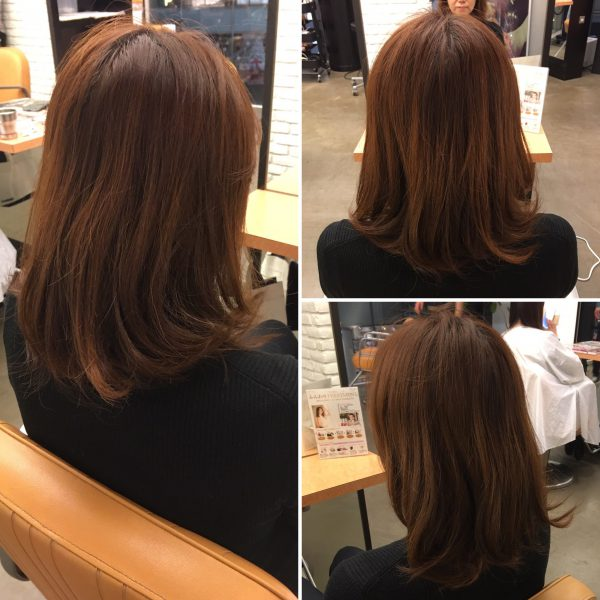 柔らかで女性らしい曲線のあるミディアムヘア